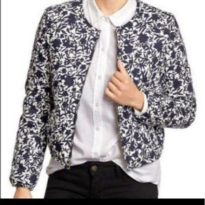 Old Navy Floral Quilted Bomber Jacket Blue XS